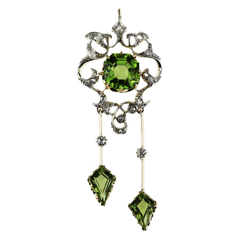 Antique Victorian Peridot and Diamond Pendant Brooch in 18 Karat Gold and Silver For Sale