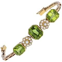Antique Victorian Peridot Pearl Bracelet