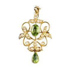 Antique Victorian Peridot Pearl Dropper Pendant 15 Carat Gold, circa 1890