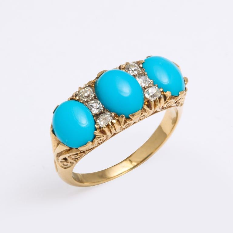 Cabochon Antique Victorian Persian Turquoise and Diamond Ring For Sale