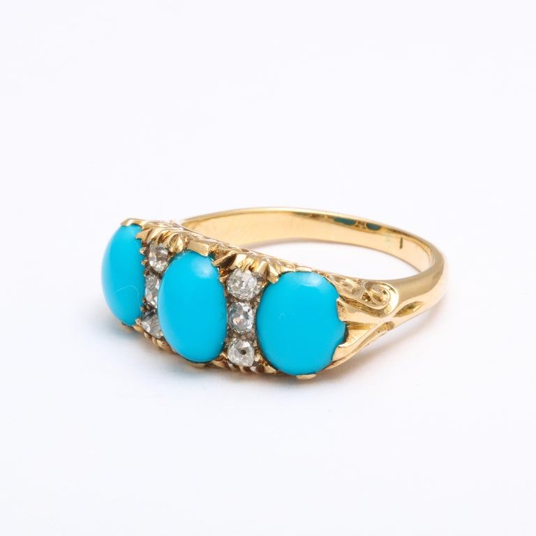 Antique Victorian Persian Turquoise and Diamond Ring In Excellent Condition For Sale In Stamford, CT