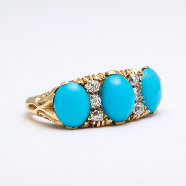 Women's Antique Victorian Persian Turquoise and Diamond Ring For Sale