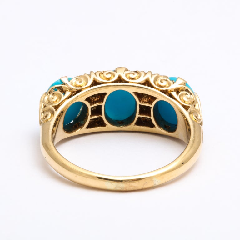 Antique Victorian Persian Turquoise and Diamond Ring For Sale 1