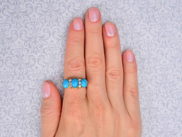 Antique Victorian Persian Turquoise and Diamond Ring For Sale 3