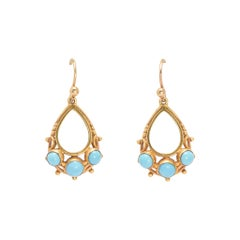 Antique Victorian Persian Turquoise Teardrop Earrings