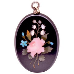 Antique Victorian Pietra Dura Locket Pendant with Floral Design, circa 1880