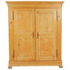 Antique Victorian Pine Armoire, Wardobe, Closet, France 1880, B2475