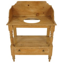 Antique Victorian Pine Washstand, Table, Scotland 1880, B2063