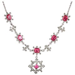 Antique Victorian Pink Paste Necklace Silver, circa 1900