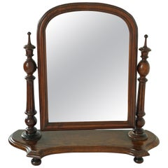 Antique Victorian Pitch Pine Dressing Table Mirror On Stand, Scotland 1870, 1774