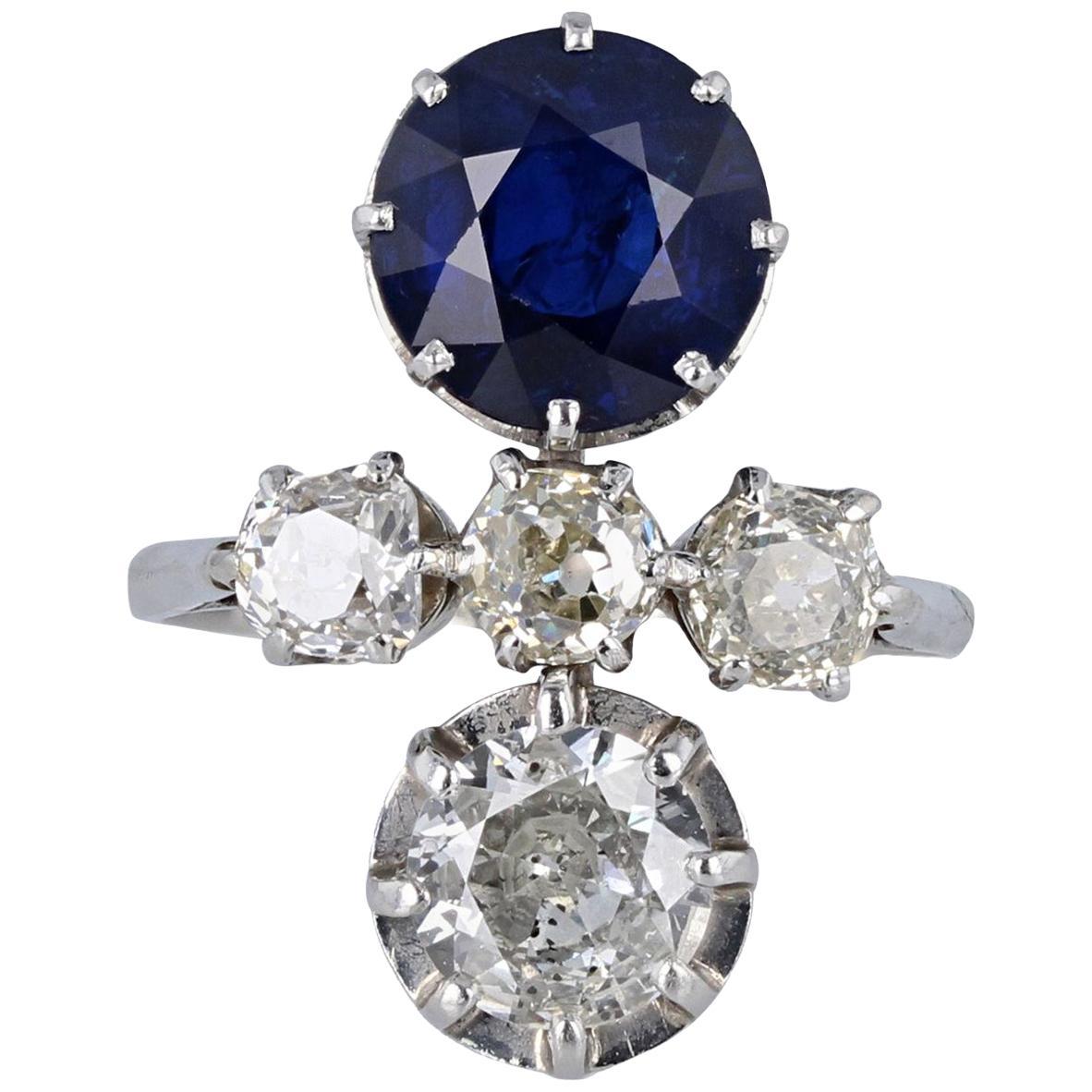 Antique Victorian Platinum Sapphire Diamond Toi Et Moi Two-Stone Ring