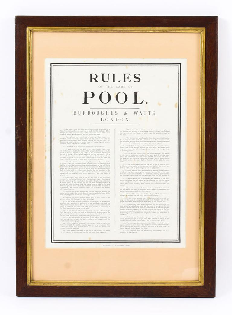 Antique Victorian Pool Scoreboard and 2 Prints Palmer & Sons-Joe Davis In Good Condition For Sale In London, GB