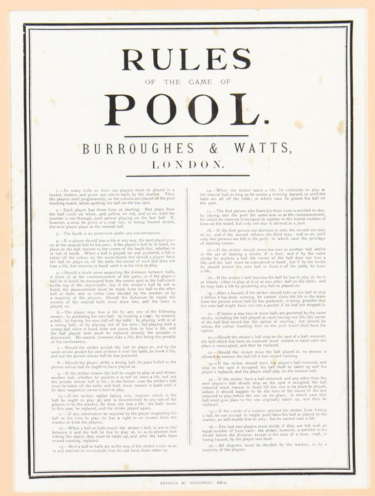 Late 19th Century Antique Victorian Pool Scoreboard and 2 Prints Palmer & Sons-Joe Davis For Sale