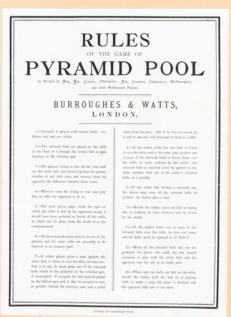Antique Victorian Pool Scoreboard and 2 Prints Palmer & Sons-Joe Davis For Sale 1