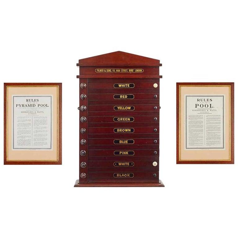 Antique Victorian Pool Scoreboard and 2 Prints Palmer & Sons-Joe Davis For Sale