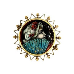 Antique Victorian Porcelain Gold Brooch