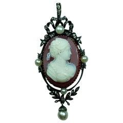 Antique Victorian Portrait of a Lady Hard Stone Cameo Pendant
