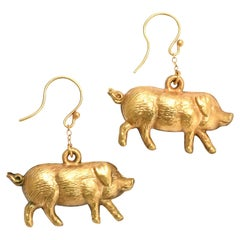 Antique Victorian Puffed Lucky Pig Earrings
