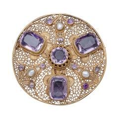 Antique Victorian Purple Spinel Brooch Pearl 18 Carat Gold Silver, circa 1900