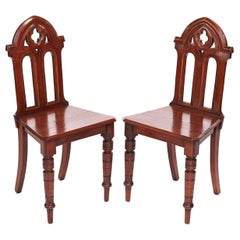 Antique Victorian Quality Pair of Oak Gothic Hall Chairs
