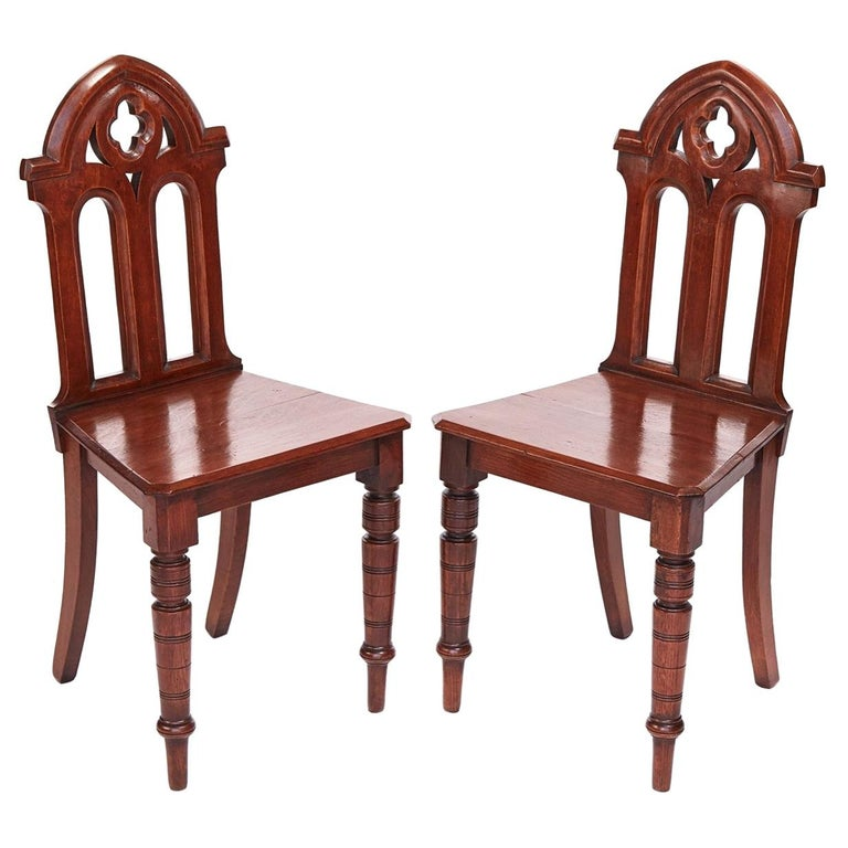Antique Victorian Quality Pair of Oak Gothic Hall Chairs For Sale