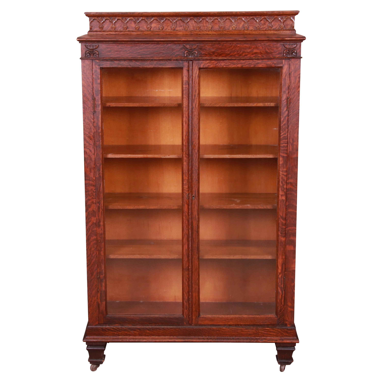 Antique Victorian Quarter Sawn Oak Bookcase, Circa 1880s