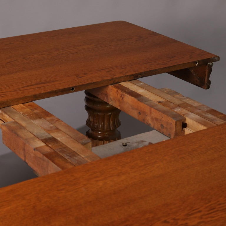 Antique Victorian Quarter Sawn Oak Extending Dining Table And Two Leaves For 2