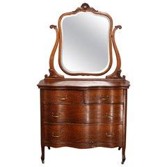 Antique Victorian Quarter Sawn Oak Serpentine Dresser with Mirror, circa 1900