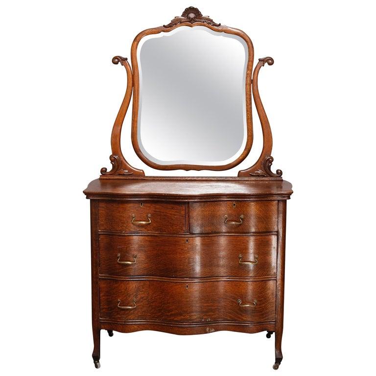 Antique Victorian Quarter Sawn Oak Serpentine Dresser With