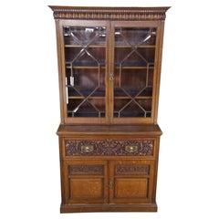 Antique Victorian Quartersawn Oak Butlers Secretary Desk & Bookcase Cabinet
