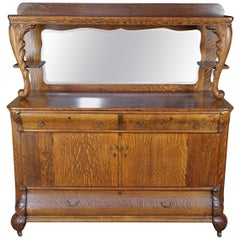 Antique Victorian Quartersawn Oak Sideboard & Mirror Buffet Bar Back Dry Server