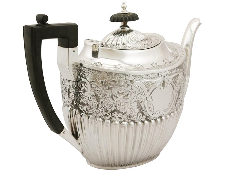 Antique Victorian Queen Anne Style English Sterling Silver Three-Piece Tea Set For Sale 1