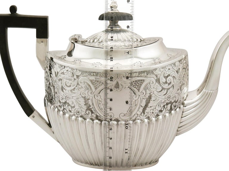 Antique Victorian Queen Anne Style English Sterling Silver Three-Piece Tea Set For Sale 2