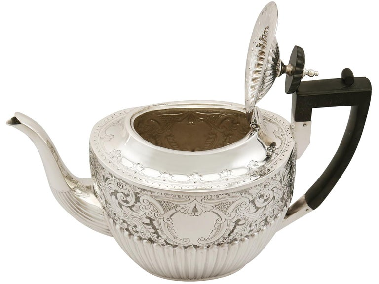 Antique Victorian Queen Anne Style English Sterling Silver Three-Piece Tea Set For Sale 3