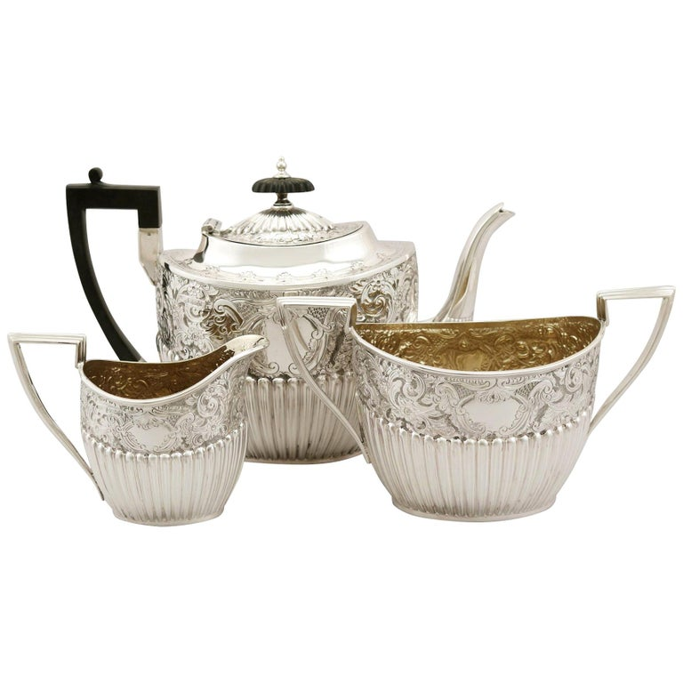 Antique Victorian Queen Anne Style English Sterling Silver Three-Piece Tea Set For Sale