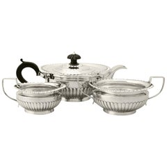 Antique Victorian Queen Anne Style Sterling Silver Three-Piece Tea Service
