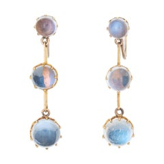 Antique Victorian Rainbow Blue Moonstone Earrings Three Tier Drops Screw Backing