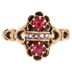 Antique Victorian Red Paste Seed Pearl Ring Vintage 10 Karat Yellow Gold Jewelry