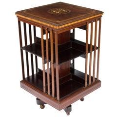 Antique Victorian Revolving Bookcase Flame Mahogany, 19th C