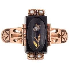 Antique Victorian Ring 10 Karat Rose Gold Mourning Jewelry Diamond Flower Pearls