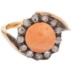 Antique Victorian Ring Coral Rose Cut Diamond 14 Karat Yellow Gold Jewelry