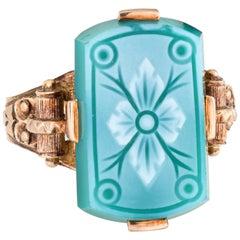 Antique Victorian Ring Green Hardstone Cameo Flower 10 Karat Gold Vintage 3.5