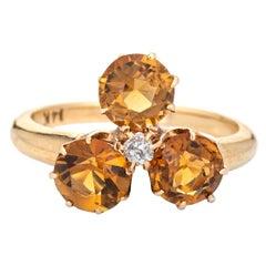 Antique Victorian Ring Trefoil Citrine Old Mine Cut Diamond Three Stone Jewelry