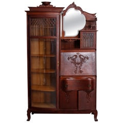 Antique Victorian R.J. Horner Style Victorian Carved Oak Secretary Bookcase