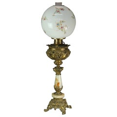 Antique Victorian Rococo Gilt & Onyx Parlor Lamp with Hand Painted Shade, c1890