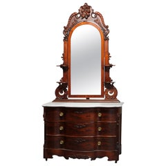 Antique Victorian Rococo Revival Carved Rosewood Marble-Top Dresser, circa 1860