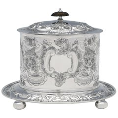 Antique, Victorian, Rococo, Sterling Silver Biscuit Box Made in 1901