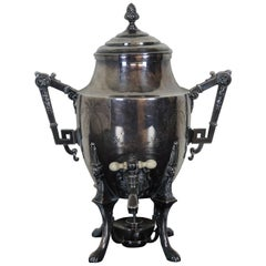 Antique Victorian Rogers Smith Repousse Silver Plate Tea Coffee Urn Samovar