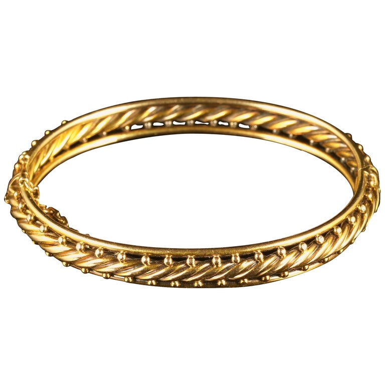 Antique Victorian Rope Bangle 15 Carat Gold Circa 1900 For