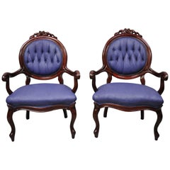 Antique Victorian Rose Carved Mahogany Frame Fireside Parlor Armchairs, a Pair
